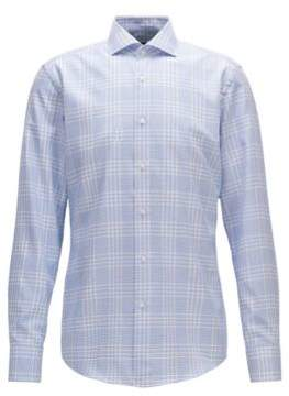 BOSS Hugo Windowpane Cotton Dress Shirt, Slim Fit Jason 17.5 Blue
