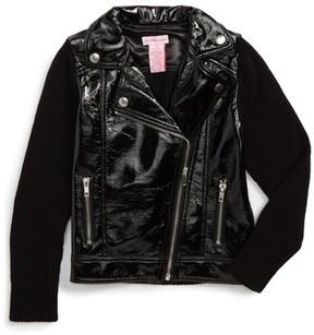 Design History Girl's Mixed Media Moto Jacket