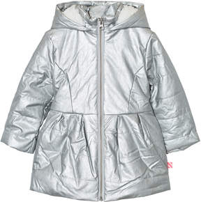 Billieblush Silver Metallic Teddy Lined Puffer Jacket with Bow Detail