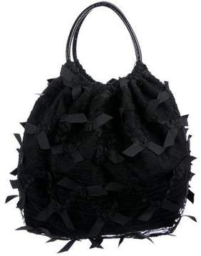 RED Valentino Leather-Trimmed Lace Hobo