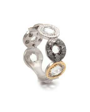 Coomi Opera Tricolor Crystal & Diamond Circle Ring, Size 6