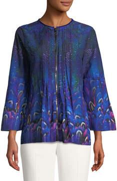 T Tahari Printed Zip-Front Bell-Sleeve Blouse