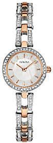 Bulova Women's Rosetone/Silvertone Crystal Bracelet Watch
