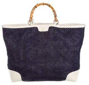 Gucci Large Bamboo Straw Shopper - BLUE - STYLE