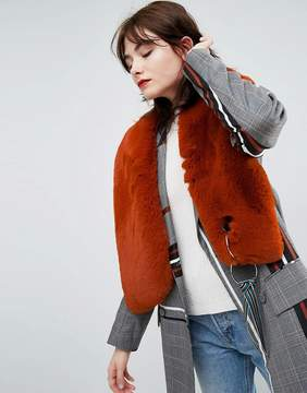 Asos Faux Fur Scarf With Tape and Ring Detail