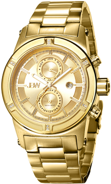 JBW Men's Strider 18K Yellow Gold-Plated Stainless Steel & Diamond Chronograph Watch, 44mm