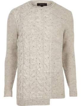 River Island Mens Cream spliced cable knit sweater