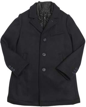 Armani Junior Wool Gabardine & Faux Leather Coat