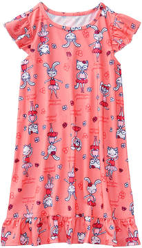 Gymboree Coral 'Première Position' Dancing Bunnies Angel-Sleeve Nightgown - Toddler & Girls
