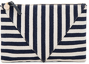 Clare V. Patchwork Flat Clutch in Navy.