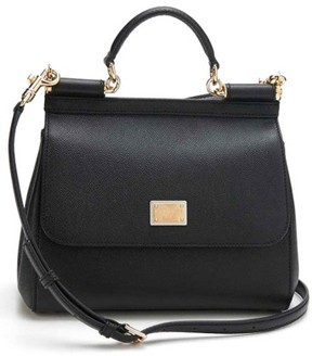 Dolce & Gabbana 'Small Miss Sicily' Leather Satchel - Black - BLACK - STYLE