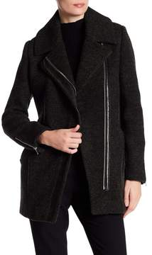 Andrew Marc Zoe Asymmetrical Zip Wool Coat