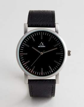 Asos Watch With Black Faux Leather Strap And Burnished Silver Case
