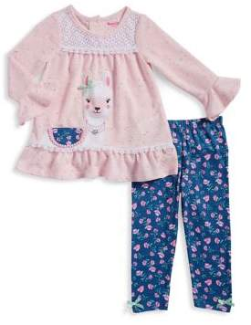 Nannette Baby Girl's Floral Lama Top and Legging Set