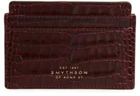 Smythson Women's Mara Tiered Croc Embossed Leather Card Holder - Burgundy