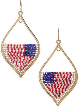 Carole Stars & Stripes Beaded Goldtone Drop Earrings