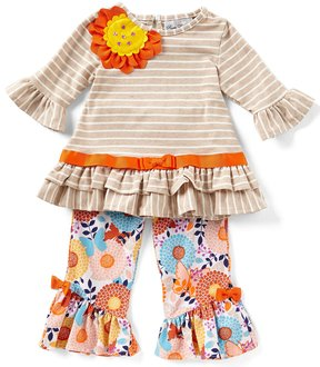 Rare Editions Baby Girls 3-24 Months Striped Floral-Applique Top & Printed Leggings Set
