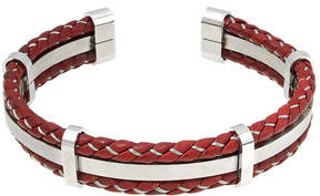 JCPenney FINE JEWELRY Mens Braided Brown Leather Stainless Steel Cuff Bracelet