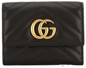 Gucci Black Matelasse Leather GG Marmont Wallet - BLACK - STYLE