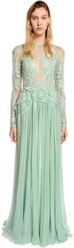 Elie Saab Tulle & Georgette Dress W/ Macramé Lace