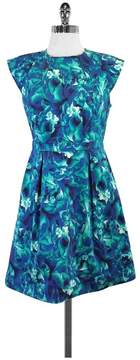 Ali Ro Blue & Green Floral Cotton Cap Sleeve Dress