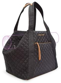 Adrienne Vittadini Quilted Yoga Mat Tote With Double Handles And Zip Top Closure-black