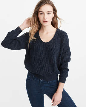 Abercrombie & Fitch Puff Sleeve V-Neck Sweater