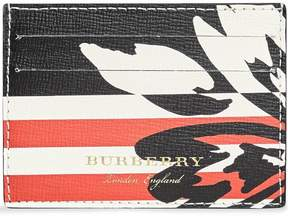 Burberry Floral Stripe Print Leather Card Case
