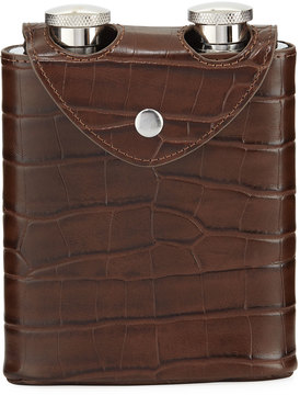 Neiman Marcus Embossed Leatherette Double Flask