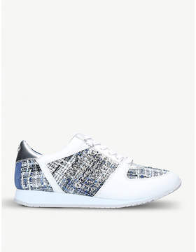 Carvela Lake leather and knit-fabric trainers