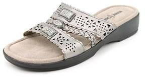 Minnetonka Gayle W Open Toe Leather Slides Sandal.