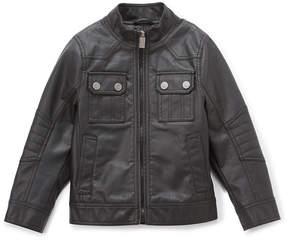 Urban Republic Black Button-Pocket Faux Leather Jacket - Boys