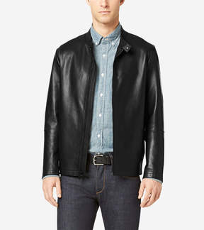 Cole Haan Raw Edge Leather Moto Jacket