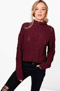 boohoo Hannah Cable Knit Funnel Neck Jumper