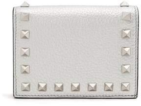 Valentino Rockstud Bi Fold Leather Wallet - Womens - Silver