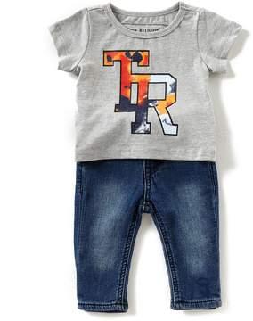 True Religion Baby Boy 3-24 Months TR Logo Short Sleeve Tee & Jeans Set
