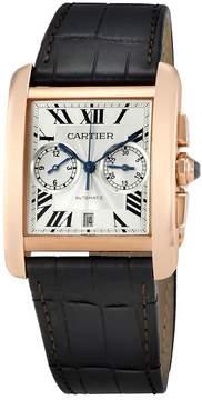 Cartier Tank MC Chronograph Silver Dial Brown Leather Men's Watch