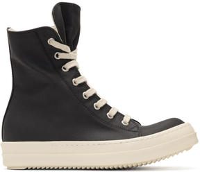 Rick Owens Black Waxed Vegan High-Top Sneakers