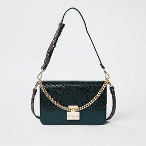 River Island Green snake print lock front cross body bag