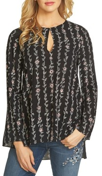 CeCe Women's Floral Keyhole Tunic Top