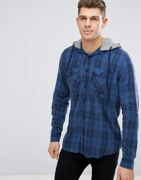 New Look Regular Fit Check Shirt With Hood In Navy