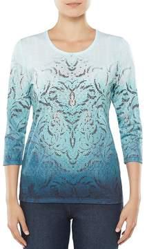 Allison Daley Embellished 3/4 Sleeve Medallion Print Knit Top