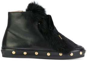 Baldinini studded fur ankle boots