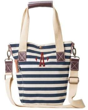 Cathy's Concepts Striped Canvas and Leather Wine Tote
