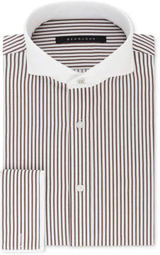Sean John Men's Classic/Regular Fit Brown and White Stripe French Cuff Dress Shirt
