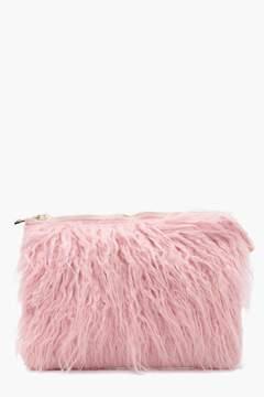 boohoo Louise Mongolian Fur Clutch Bag