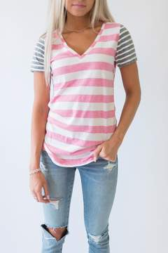 Ampersand Avenue Callie Striped Tee - Pink & Charcoal