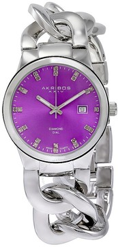 Akribos XXIV Purple Dial Silver-tone Base Metal Ladies Watch