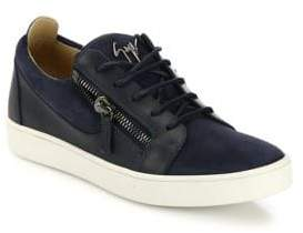 Giuseppe Zanotti Zippered Suede& Leather Low-Top Sneakers