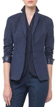 Akris Odeon Snap-Front Long-Sleeve Denim Jacket